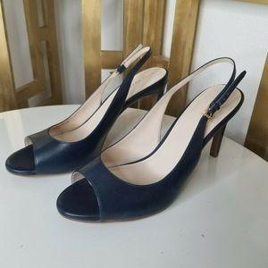 Cole Haan 10 Navy Blue Stiletto Pump Peep Toe Heel